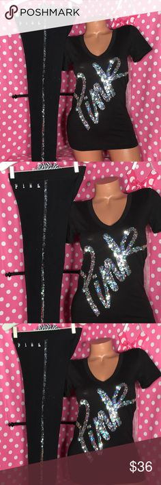 VS Pink bling set RARE VS pink bling T-shirt leggings that both black with silver iridescent sequins graphics size extra small good preowned condition slight fading no holes rips or stains perfect for a vintage pink girl to love! PINK Victoria's Secret Pants Leggings