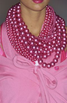 LOTS of pink beads with Pink Outfit FROM: friday fashion crush:  girly pink again