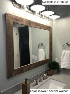 Renewed Décor Shiplap Reclaimed Wood Mirror in 20 stain colors - Large Wall Mirror - Rustic Modern Home - Home Decor - Mirror - Housewares - Woodwork - Frame - Stained Mirror - Shiplap Reclaimed Wood Framed Mirror Wood Framed Bathroom Mirrors, Farmhouse Bathroom Mirrors, Rustic Mirrors, Rustic Bathroom Decor, Home Decor Mirrors, Bathroom Styling, Bathroom Ideas, Bathroom Mirror Makeover, Mirrors For Bathrooms