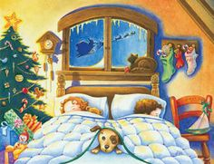 On Christmas Eve by Lin Howard ~ children sleeping ~ Santa & reindeer in sky