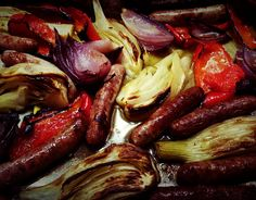 Chipolatas, pepper and fennel bake - CookTogether