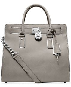 Michael Kors Hamilton Specchio Pearl Grey Leather Tote; I really like the look of this bag & color, but the name brand is so $$$