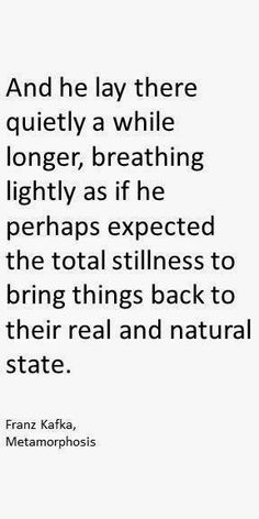 """Franz #Kafka, #Metamorphosis quote,  """"And he lay there quietly a while longer, breathing lightly as if he perhaps expected the total stillness to bring things back to their real and natural state."""""""