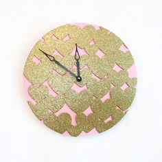 Hey, I found this really awesome Etsy listing at https://www.etsy.com/listing/271110987/gold-and-pink-wall-clock-gold-glitter