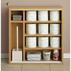 奥行19cmのスリムなトイレ収納。省スペースなのに最大16個ものトイレットペーパーを収納できます。狭い空間でも活躍する引き戸タイプで、開き戸では置けなかったという方にもおすすめ。ブラシや洗剤も収納でき、トイレをすっきりと片づけられます。清潔感のあるデザインも魅力です。