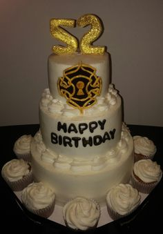 This was a carrot cake with cream cheese frosting. Secret Knock logo made of fondant. www.VeronicasGoodies.com