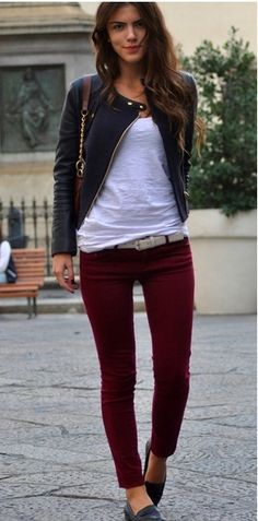 Burgundy jeans + leather jacket + white tee.