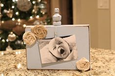 "Shanty 2 Chic picture frame ~ 11"" block wood, small clothes pin, finial and rosettes."