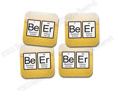 Periodic Table Beer Coaster Neoprene 4 Piece Set