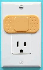 Ouchlets Outlet Covers -- a great visual to show kids that the outlet gives you owies
