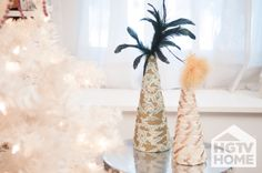 HGTV's @Farima Alavi created these decorative trees using HGTVHOME fabric and feathers. #12DaysOfHGTVHOME