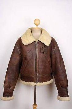Vintage CHEVIGNON Togs B-3 Pilot Leather Jacket AIR FORCE Flight SHEEPSKIN XL