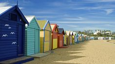 Colorful bath houses on Brighton Beach in Melbourne, Australia Energy Bill, Going On A Trip, Brighton, Continents, New Zealand, Travel Inspiration, To Go, Outdoor Structures, Island