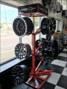 Capable of displaying in 4 directions at 3 levels, this Vision Custom Wheel Tree Sprouts In Automotive concept merchandises up to 12 custom rims at a time. Auto Parts Shop, Car Audio Shops, Automotive Shops, Garage Organisation, Tyre Shop, Car Racks, Showroom Design, Interior Design, Custom Wheels