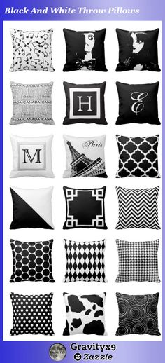 Keep it basic ! Black And White Throw Pillows available at #Zazzle #gravityx9 - #homedecor #blackandwhite #throwpillows #pillows