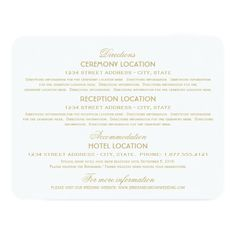 "#Wedding Information Cards | Gold Vintage Glamour 4.25"" X 5.5"" #Invitation Card"