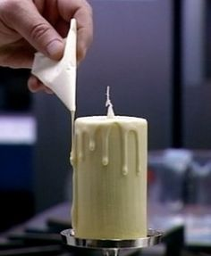 "edible white chocolate ""candle"" filled with caramel Previous note: Heston Blumenthal"