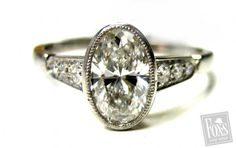 Vintage Style Oval Diamond Engagement Ring - Sebastien Barier... That's lovely
