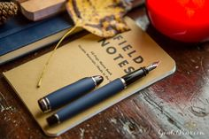 An Aurora Ipsilon Satin Blue in an autumn inspired flat lay of fountain pens, notebooks, and ink, with navy blues, browns, and yellows.