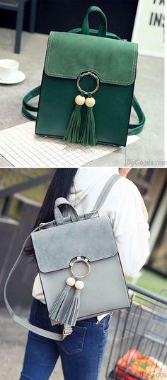 Sweet Pure Color PU Tassel Circular Ring School Backpack for big sale! #backpack #Bag #tassel #ring
