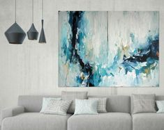 ORIGINAL LARGE Abstract Painting, Abstract Art, Acrylic Painting on Canvas, XL large Canvas Art. Custom Extra Large Painting Blue Wall Art
