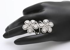 Diamond Double Flower Ring | From a unique collection of vintage cocktail rings at http://www.1stdibs.com/jewelry/rings/cocktail-rings/