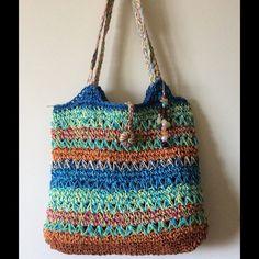 "Purse Summer multi color purse. 13"" long. 14"" wide. Shoulder strap 26"" Sun n Sand Bags Totes"