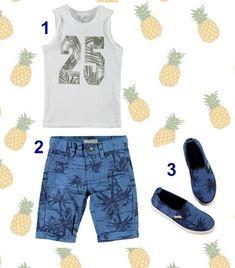 Look niño: camiseta, bermudas y zapatillas con estampado de palmeras. Estampados tropicales para el verano #ModaInfantil