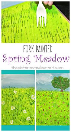 Fork Painted Spring Meadow - kids art projects for the spring. Fun arts and craft and painting technique
