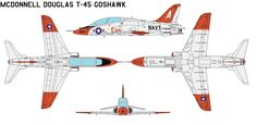 McDonnell Douglas T-45 Goshawk The T-45 Goshawk is a highly modified version of the BAE Hawk land-based training jet aircraft. Manufactured by McDonnell Douglas (now Boeing) and British Aerospace (...