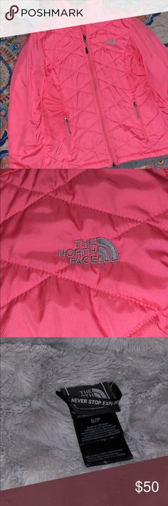 North Face Jacket Cute Coral North Face jacket info great condition. Perfect for winter time. Also good for walking in the dark. North Face Jackets & Coats Puffers