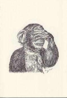BALLPEN MONKEY 1 Ballpen, Monkeys, Illustrator, Saatchi Art, Drawings, Rompers, Monkey, Illustrators, Sketches