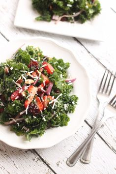 Strawberry Coconut Kale Salad | Hummusapien