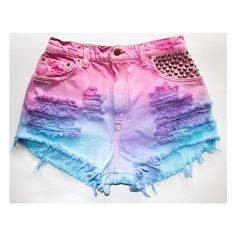 Tie dye shorts ($40) ❤ liked on Polyvore featuring shorts, bottoms, pants, short, tie die shorts, tie-dye shorts, short shorts, studded shorts and distressed studded shorts