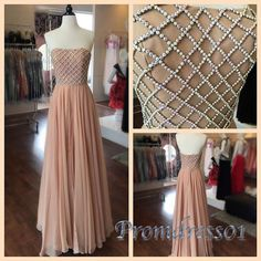 Elegant beaded champagne chiffon dress for prom 2016, occasion dress, prom dresses long #coniefox #2016prom
