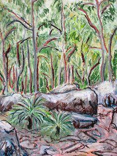 Bush Rocks Landscape Drawing Modern Art Original by InekedeVries