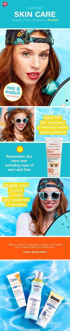 Be above board with your routine for beautiful, healthy summer skin! Follow our easy 4-step skin care regimen of cleanse, treat, moisturize and protect. Buy 2, get 3rd FREE, all skin care and sun care, now through June 24!