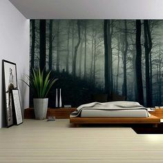 A Dark and Misty Forest - Wall Mural, Removable Sticker - 100x144 inches $99