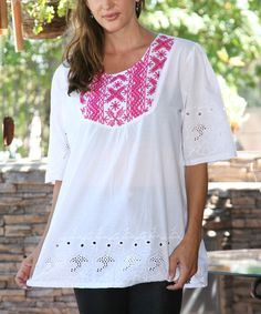Love this Fuchsia Geometric Embroidered Scoop Neck Tunic on #zulily! #zulilyfinds
