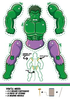 The Incredible Hulk as a Jumping Jack. Dowload template free. Another cool superhero puppet.