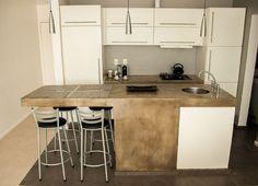 apartamento ipanema - bancadas em cimento queimado - projeto Margareth Salles