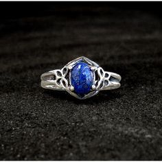 Sterling Lapis Ring: Sterling Silver and Lapis Lazuli - victorian,... ($55) ❤ liked on Polyvore featuring jewelry, rings, lapis lazuli, vintage sterling silver rings, 14 karat gold ring, vintage victorian rings, vintage sterling silver jewelry and 14k ring