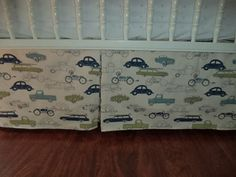 Vintage Cars Transportation Nursery Decor. baby Bedding . 4 sides.Free Shipping. Dust ruffle. fits toddlers bed.