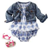 With a fresh print, pleats and ruffles, she's as sweet as springtime. Add classic denim when the breeze picks up.
