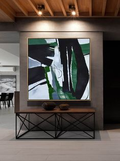 CZ Art Design - Hand painted oversized dark green contemporary painting on canvas, original fine art, square shape. #XB123A #abstractart