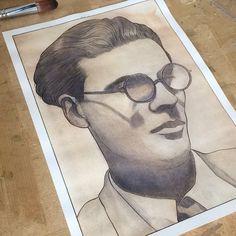 """Graphik H / H1987 on Instagram: """"Portrait d' #aldoushuxley ( encre de chine et aquarelle )  210 mm × 297 mm  ________________  Suivez-moi sur :  Blog -…"""""""