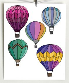 Another great find on #zulily! Hot Air Balloons Print #zulilyfinds