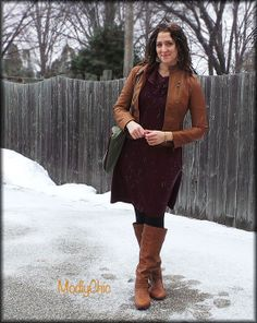 Maroon sweater dress, camel vegan leather jacket and boots, black leggings, hunter green bag. #winter #ootd