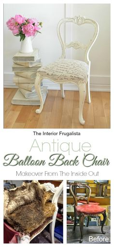 Antique Balloon Back Chair Makeover From The Inside and Out | The Interior Frugalista