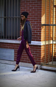Burgundy and purples. The classic pump. Rachel Roy shirt and pants, H and M jacket.